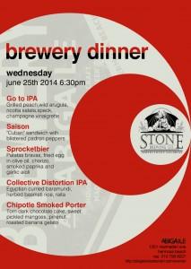 stone brewery dinner
